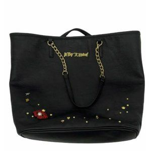 Betsey Johnson  embroidered accent black tote L